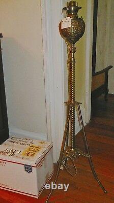 Antique Brass Piano floor lamp standing oil Victorian 1800's