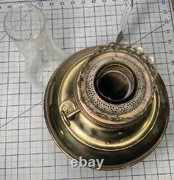 Antique Brass RAYO Center Draft Kerosene Oil Lamp, Burner Chimney