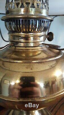 Antique Brass Rayo GWTW Hurricane Oil Lamp Electric withWhite Glass Ruffled Shade
