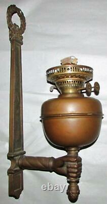 Antique Brass Torch & Wreath Oil Kerosene Sconce Lamp Hand Holder, Duplex Burner