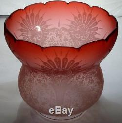 Antique C1890 Cranberry Profusely Etched Oil Lamp Shade Hinks Messengers 4 Fit