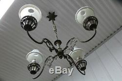 Antique Cast Iron 4 Arms Oil Lamp Chandelier Bradley & Hubbard Era With Glass Sh