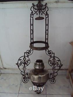 Antique Chandelier Oil Lamp Astral-Lampe 40''' Austria 1880