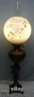 Antique Cherub Oil Parlor Banquet GWTW Table Lamp with Hand Painted Shade Globe