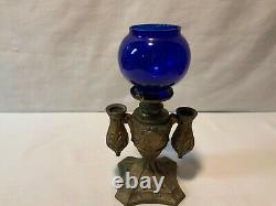 Antique Cigar lighter kerosene oil lamp cobalt blue shade possibly Miller or B&H