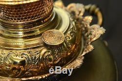 Antique Circa 1880 Bradley and Hubbard B&H Oil Lamp Wrought BrassBase Flow. Shade