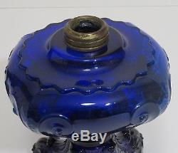 Antique Cobalt Blue Oil Lamp Princess Feather EAPG