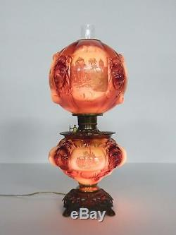 Antique Consolidated Co. Lion Gone With The Wind electricfied Oil Lamp, GWTW
