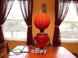 Antique Consolidated Glass Red Satin Baby Face Angel GWTW Lamp Converted