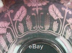 Antique Cranberry Etched Glass Tulip Shape Duplex Oil Lamp Shade 4 Rim