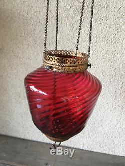Antique Cranberry Glass Swirl Pull Down Oil Lamp Chains Parlor Hanging 1840's
