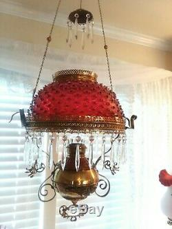 Antique Cranberry Hobnail Hanging Miller Oil Lamp Library Parlor Lamp