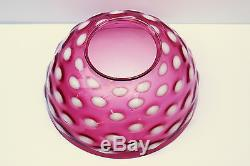 Antique Cranberry Opalescent Glass approx. 14'' Dome Shade Oil Lamp hobnail