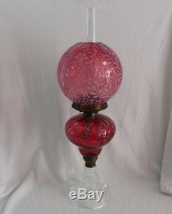 Antique Daisy & Fern Oil Lamp Cranberry Very Large