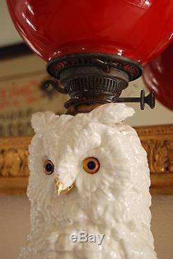 Antique Dresden German Porcelain Owl Parlor Victorian Kerosene Oil Old Gwtw Lamp