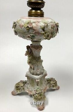 Antique Dresden Style Porcelain Oil Lamp Cherubs