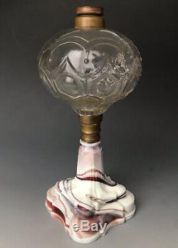 Antique EAPG Whale Oil Kerosene Blown Glass Lamp with Clambroth Swirl Base, 19thC