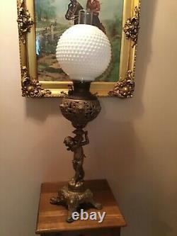 Antique E. Miller 31 Heavy Banquet Parlor Cherub Oil Lamp 1890s