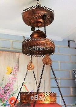 Antique E. Miller Hanging Oil Library Kerosene Parlor Lamp with floral Shade