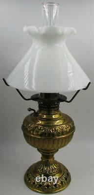 Antique E Miller THE TINY JUNO Kerosene Oil Lamp with Burner Rare Shade & Holder