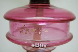 Antique Eapg Oil Kerosene Sandwich Glass Atterbury Banquet Hunting Boy Pink Lamp