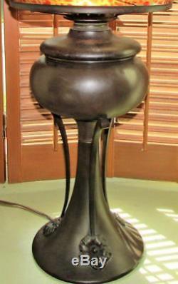 Antique Electrified Oil Kerosene Lamp Brass Handel Miller B&H Era Brown Brass
