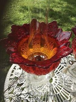 Antique Electrified Oil Lamp Red Amberina Shade 2 Available