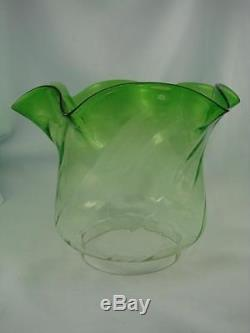 Antique Emerald Green Glass, Tulip Shape, Duplex Oil Lamp Shade, 4 Fitter