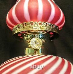 Antique European Satin Cranberry Opalescent Striped Glass Oil Lamp Complete