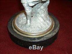 Antique Figural Frosted Glass Pedestal Oil Lamp 13 Spelter Chief
