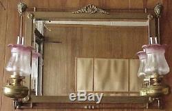 Antique Fireplace Mantel Mirror w John Scott Oil Lamps