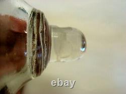 Antique Flint Glass Matched Pr Peg Whale Oil Lamps Burners, EAPG Boston Sandwich