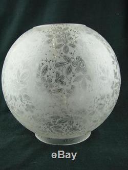 Antique Foliate Design Fully Etched Glass Globe Duplex Oil Lamp Shade