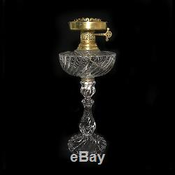 Antique Fostoria Queen Anne Electrified Uranium Glass Oil Lamp, 15H