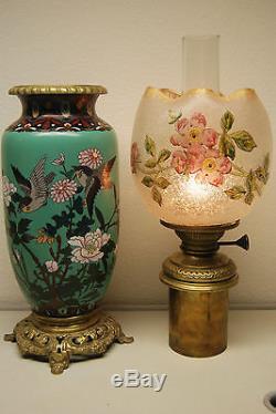 Antique French Baccarat Cloisonne Enamel Art Nouveau Old Oil Kerosene Gwtw Lamp