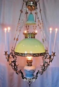 Antique French Chandelier Brass Porcelain Kerosine Candelabra Hanging Oil Lamp