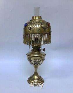 Antique French Oil Lamp Jewelled Hand Embossed Brass Fringed Lampshade
