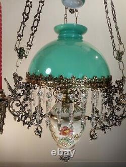 Antique French Oil Lamp Kerosene Candelabra Chandelier Victorian Bronze Crystal