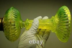 Antique French Onion Eaton Deco Nouveau Sandwich Uranium Glass Kerocene Lamp