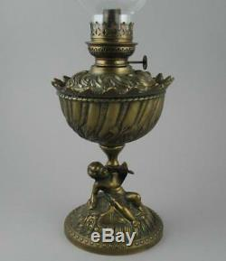 Antique French Rococo Style Relief Cast Brass Figural Putti Oil Lamp Gaudard