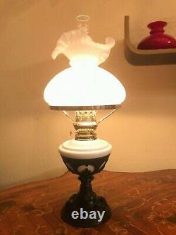 Antique GORGEOUS Beautiful Black Metal White Glass Kerosene Oil Lamp