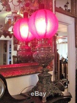 Antique GWTW Banquet Lamp, Dark Red Globe, GORGEOUS