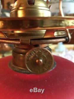 Antique GWTW Cerise Satin Glass Kerosene Oil Lamp with M. B. Co. Burner 1883