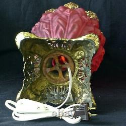 Antique GWTW Lamp Puffy IMPERIAL Red Frosted GLASS Parlor Oil Consolidated 1895