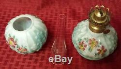 Antique GWTW Miniature Oil Lamp Painted Flowers
