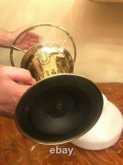 Antique German Brass Kerosene Oil Lamp w. Antique Glass Shade