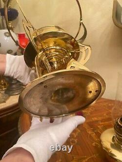 Antique German Brass Polished Kerosene Oil Lamp Matador Brenner
