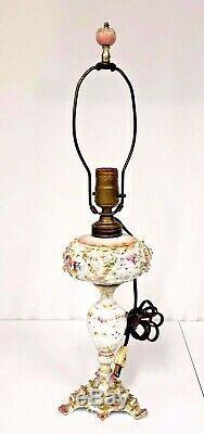 Antique German Dresden Porcelain Oil Lamp Converted