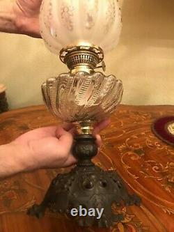 Antique German Metal Kerosene Oil Lamp Antique Glass Shade