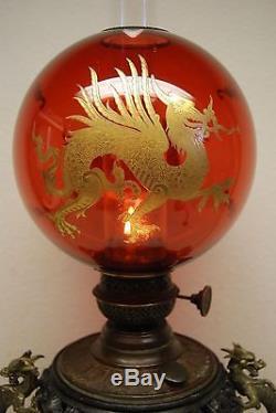 Antique Gilt Dragon Kerosene Oil Chinese Japanese Lamp Cranberry Glass Shade Old